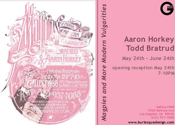 Aaron Horkey/Brlsq art show info. Better late than never.
