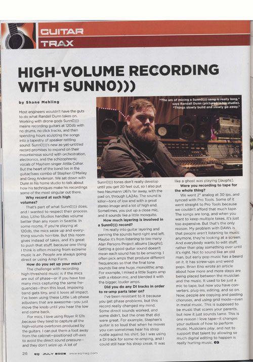 Dunn in EQ / SUNN O))) recording