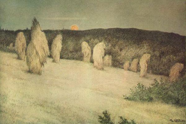 Theodor Kittelsen - Kornstaur i måneskinn, ca 1900 (Stooks of Corn in Moonlight)