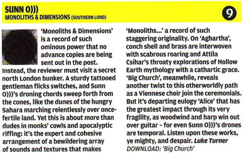 SUNN in NME 29th April 09
