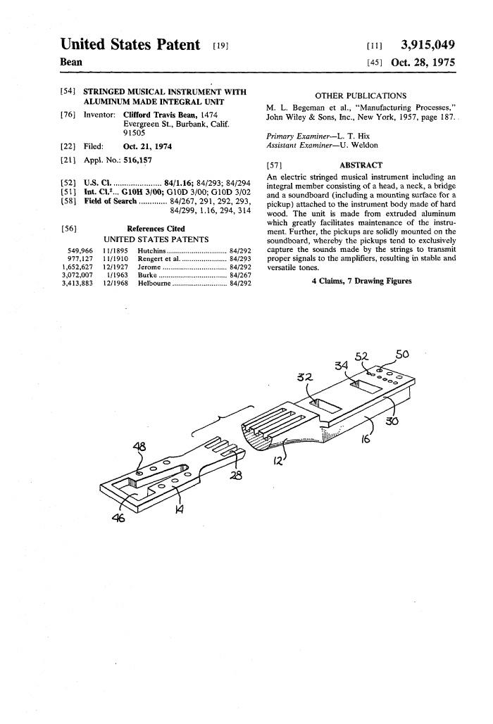 Travis Bean patent application pt 1
