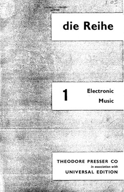 Die Reihe 1, Electronic Music (1955) English Edition download