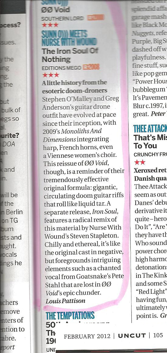"""SUNN O))) """"ØØVOID"""" & collaboration with Nurse With Wound reviewed in UNCUT, UK"""