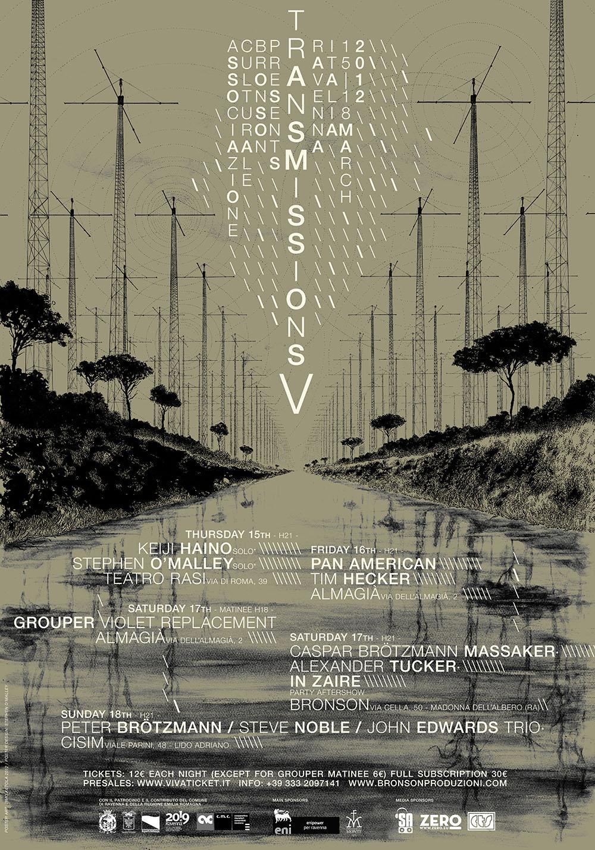Final TRANSMISSIONS V poster design w/ art by Timo Ketola