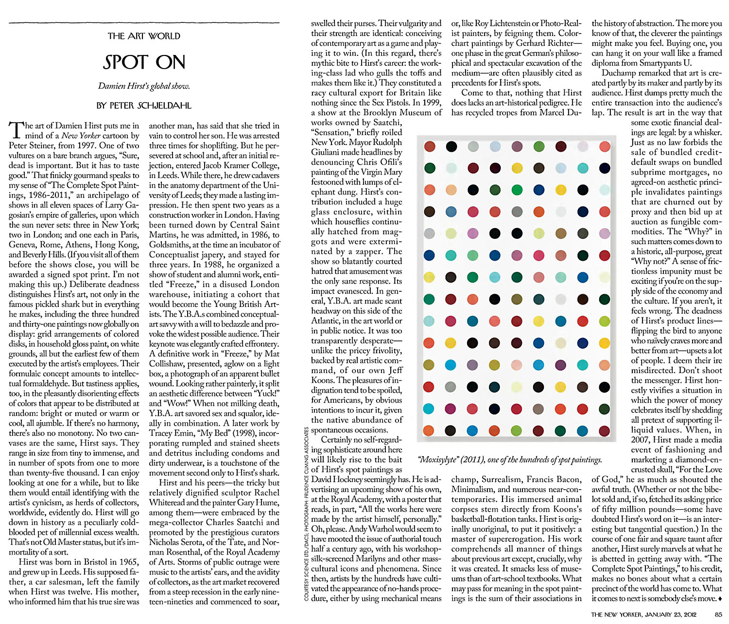 New Yorker's Damien Hirst Spot paintings critique