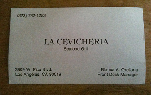 Recommended Los Angeles ceviche joint