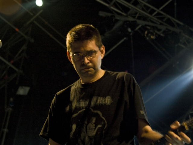 Steve Albini in a Burning Witch shirt