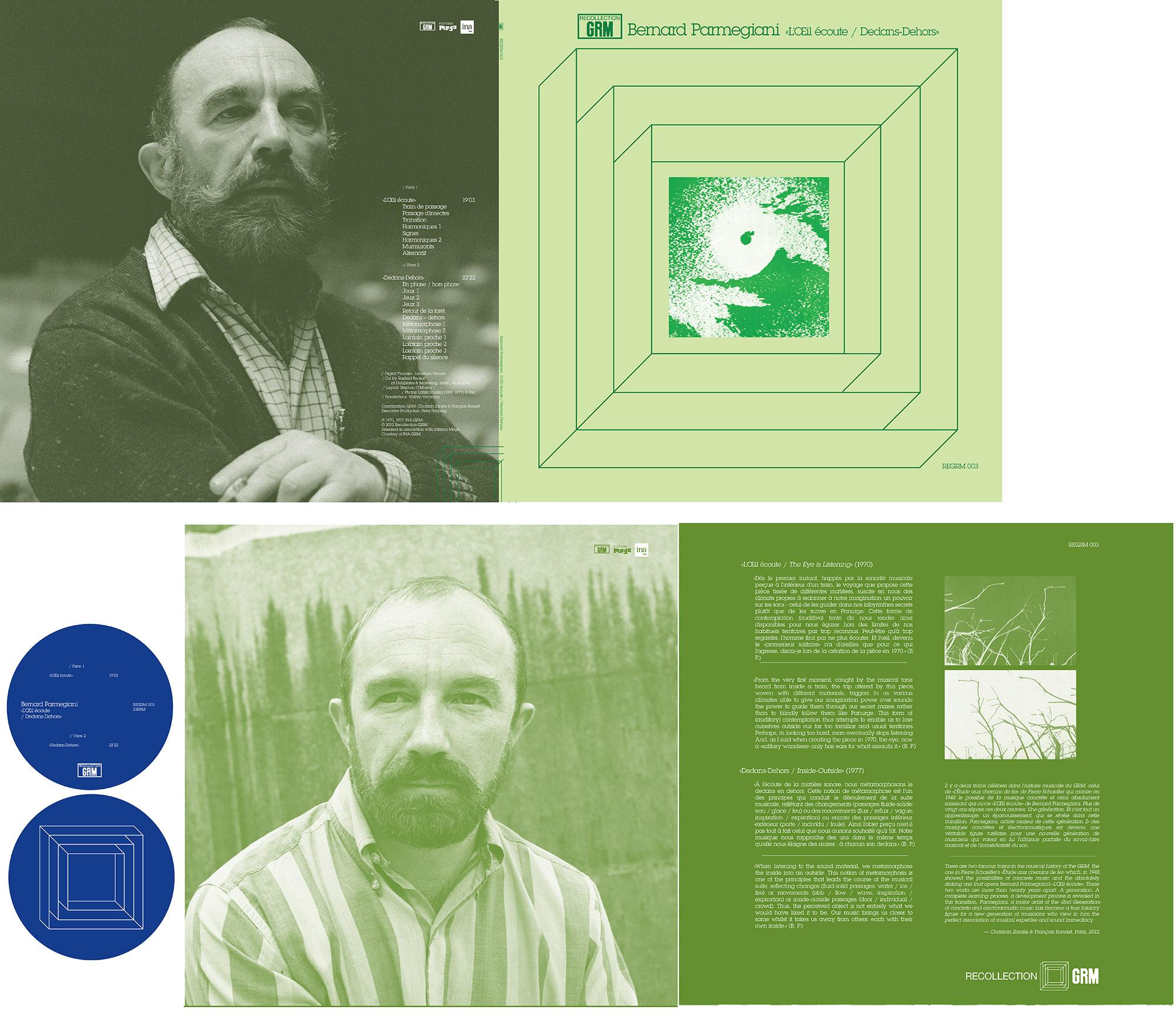 REGRM 003 Bernard Parmegiani «L'Œil écoute / Dedans-Dehors» LP design