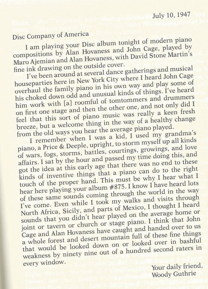 Woody Guthrie's fan-letter to John Cage