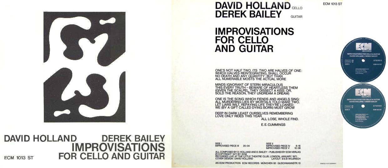 "MORNING ACID: ECM 1013 ST Dave Holland & Derek Bailey ""Improvisations for cell and guitar"" LP"