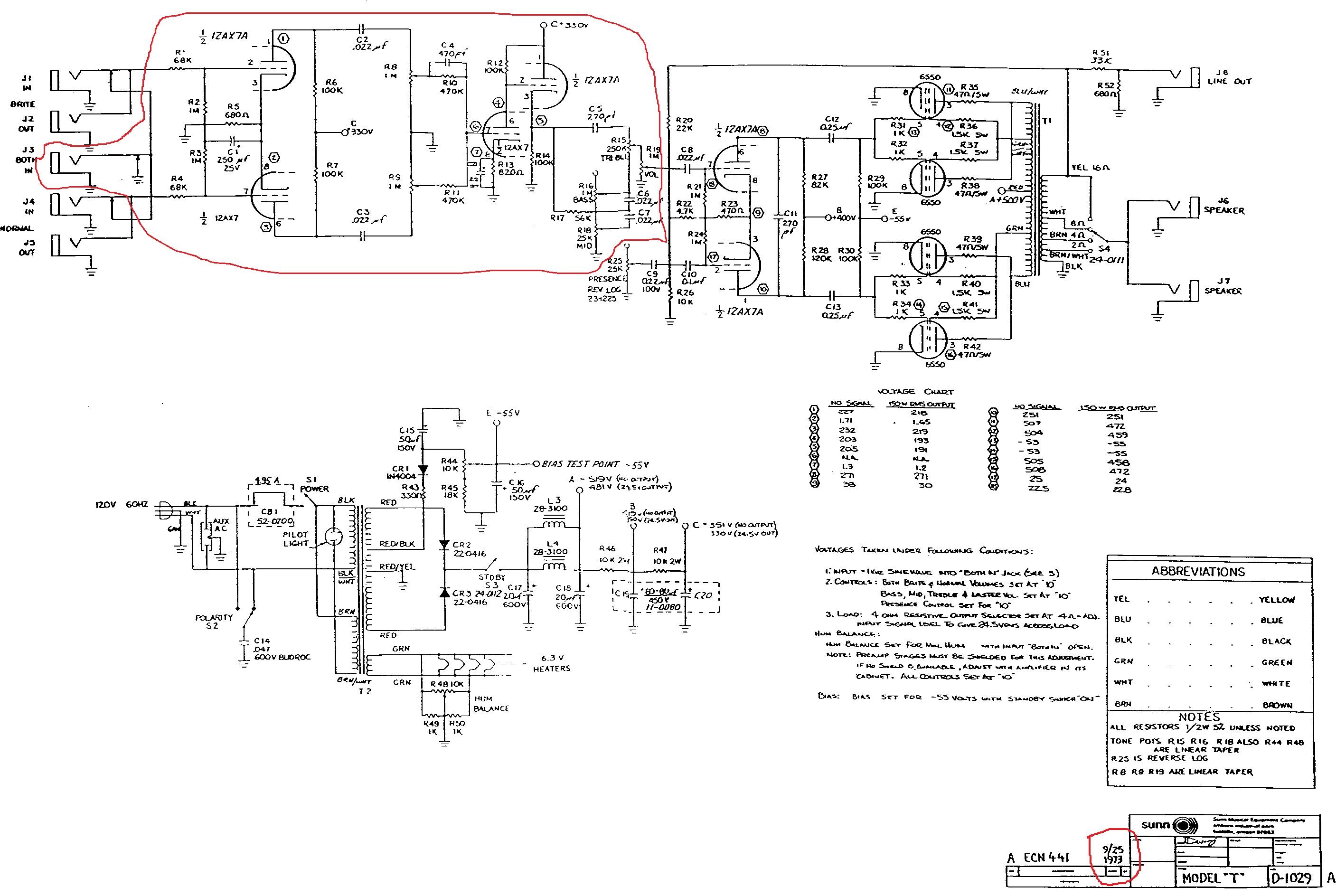 SUNN O)) 1973 MODEL T schematic