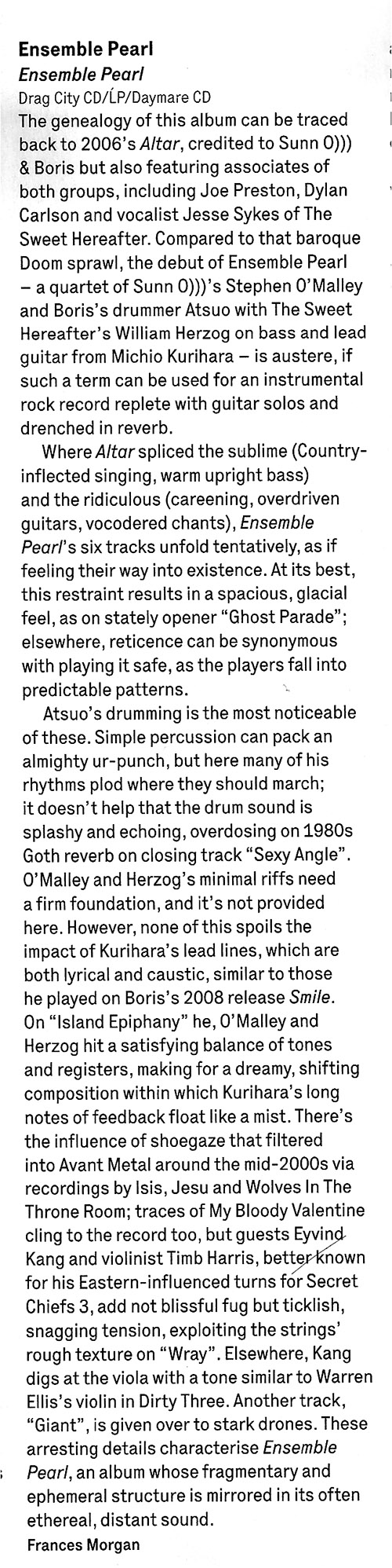 ENSEMBLE PEARL reviewed in this months WIRE magazine