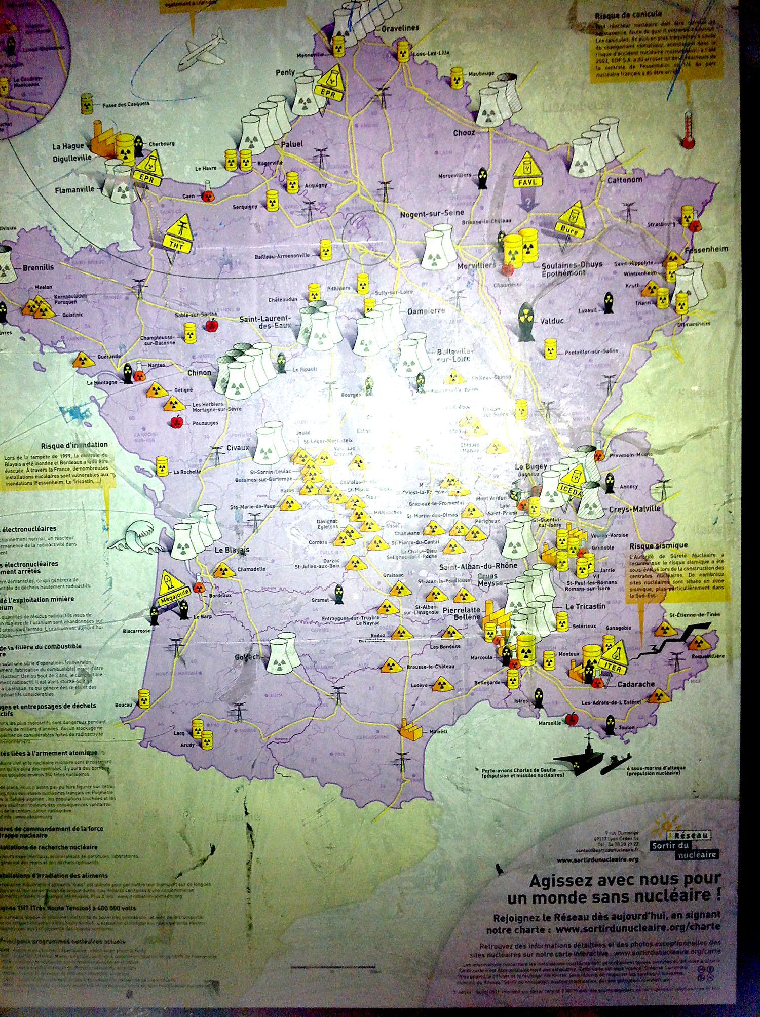 France nuclear energy map