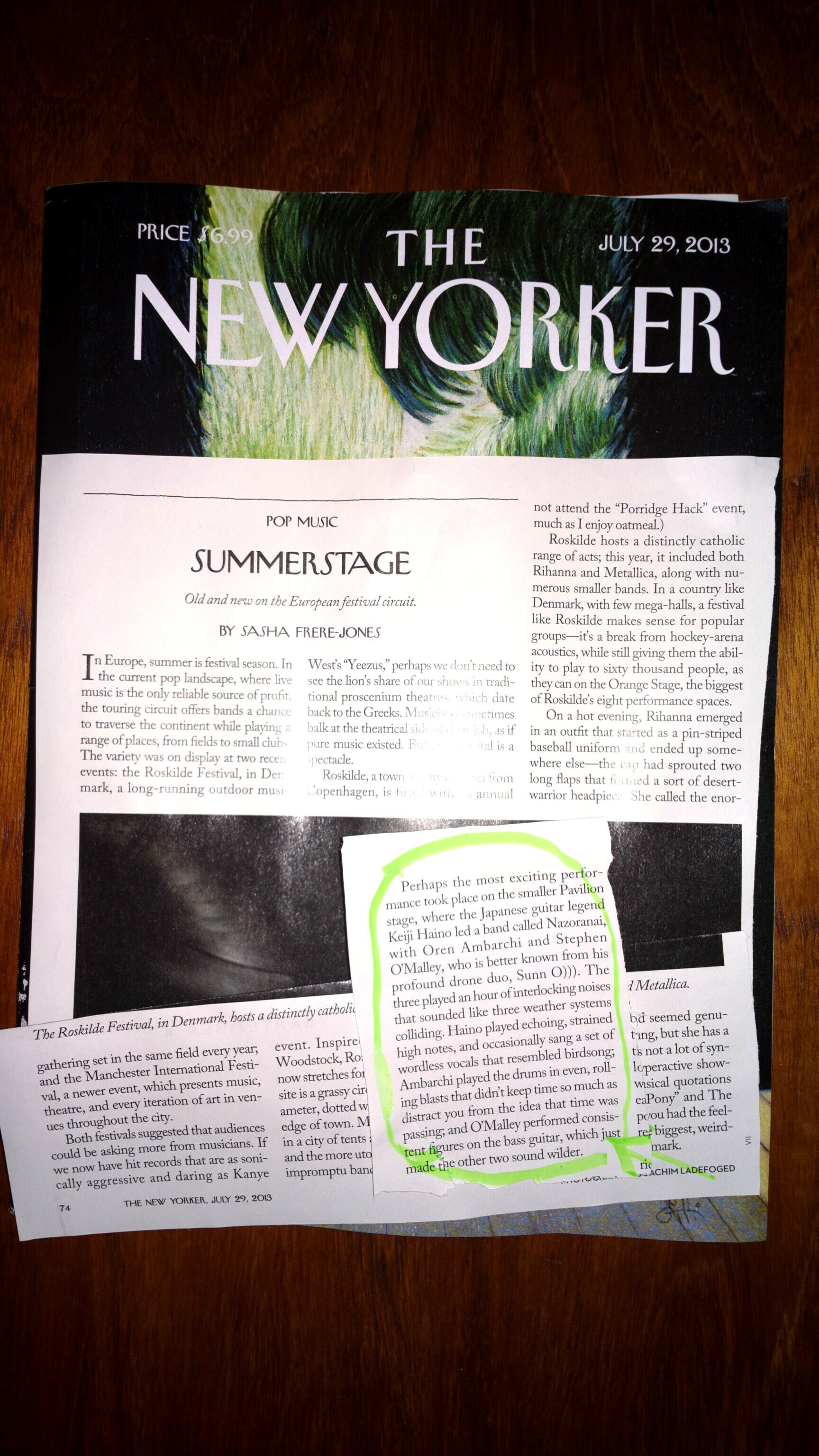 NAZORANAI at Roskilde 2013 festival review New Yorker magazine