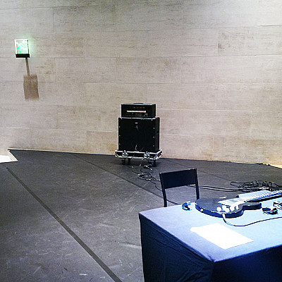"Performance of Alvin Lucier's ""Criss Cross"" at Musée du Louvre last night"