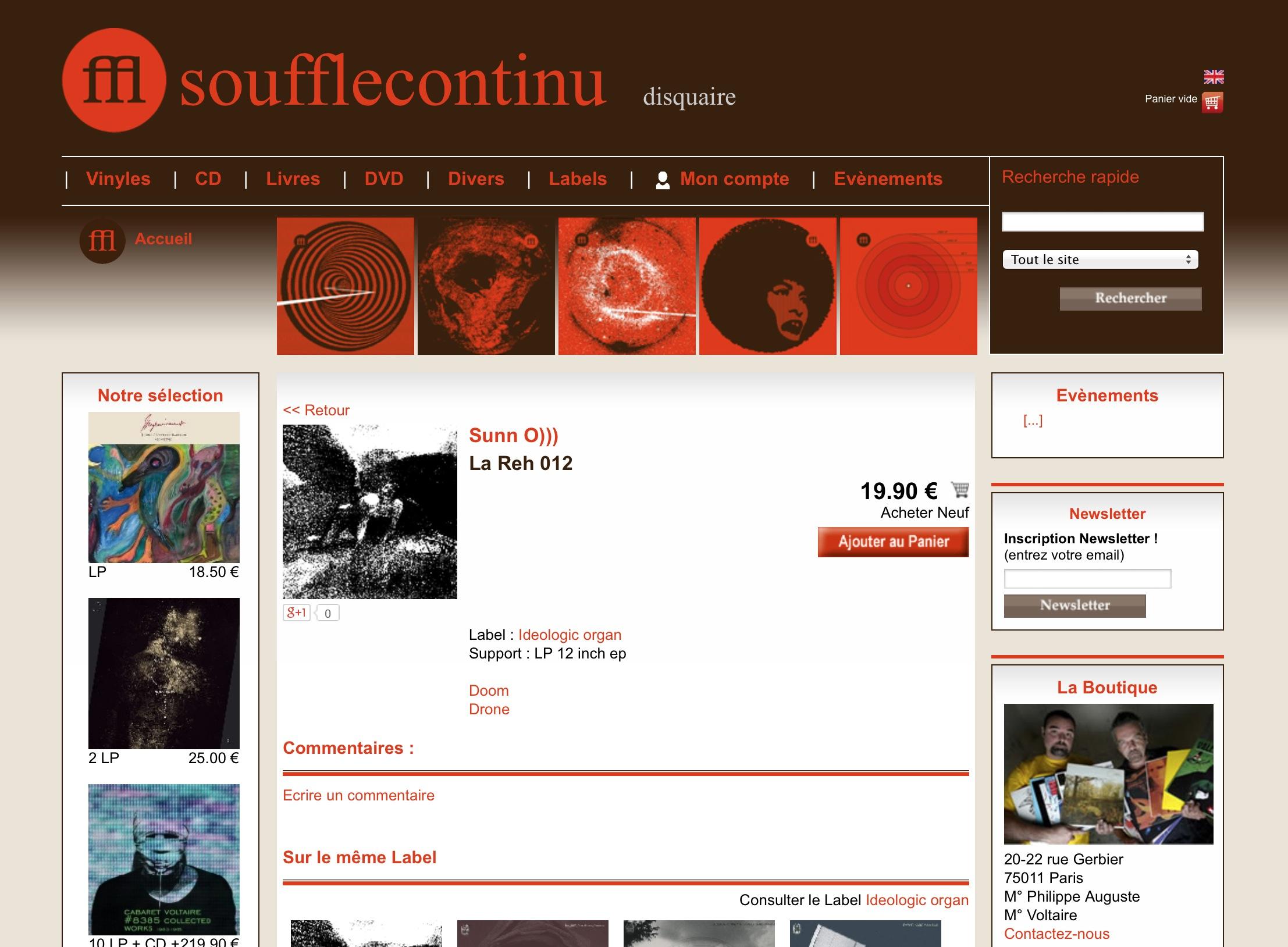 """Exemplaires de la LP limité par Sunn O))) """"LA REH 012"""" disponible via SOUFFLE CONTINU Paris"""