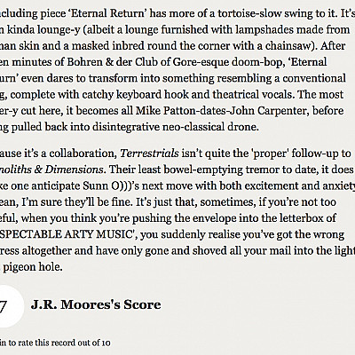 """J.R. MOORES's review of SUNN O))) & ULVER's """"Terrestrials"""" for DROWNED IN SOUND"""