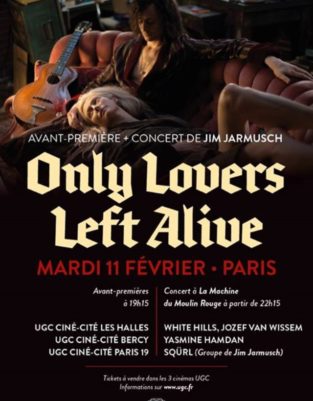 "Jarmusch ""Only Lovers Left Alive"" London (6 Feb) + Paris (11 Fev) premier + concerts"