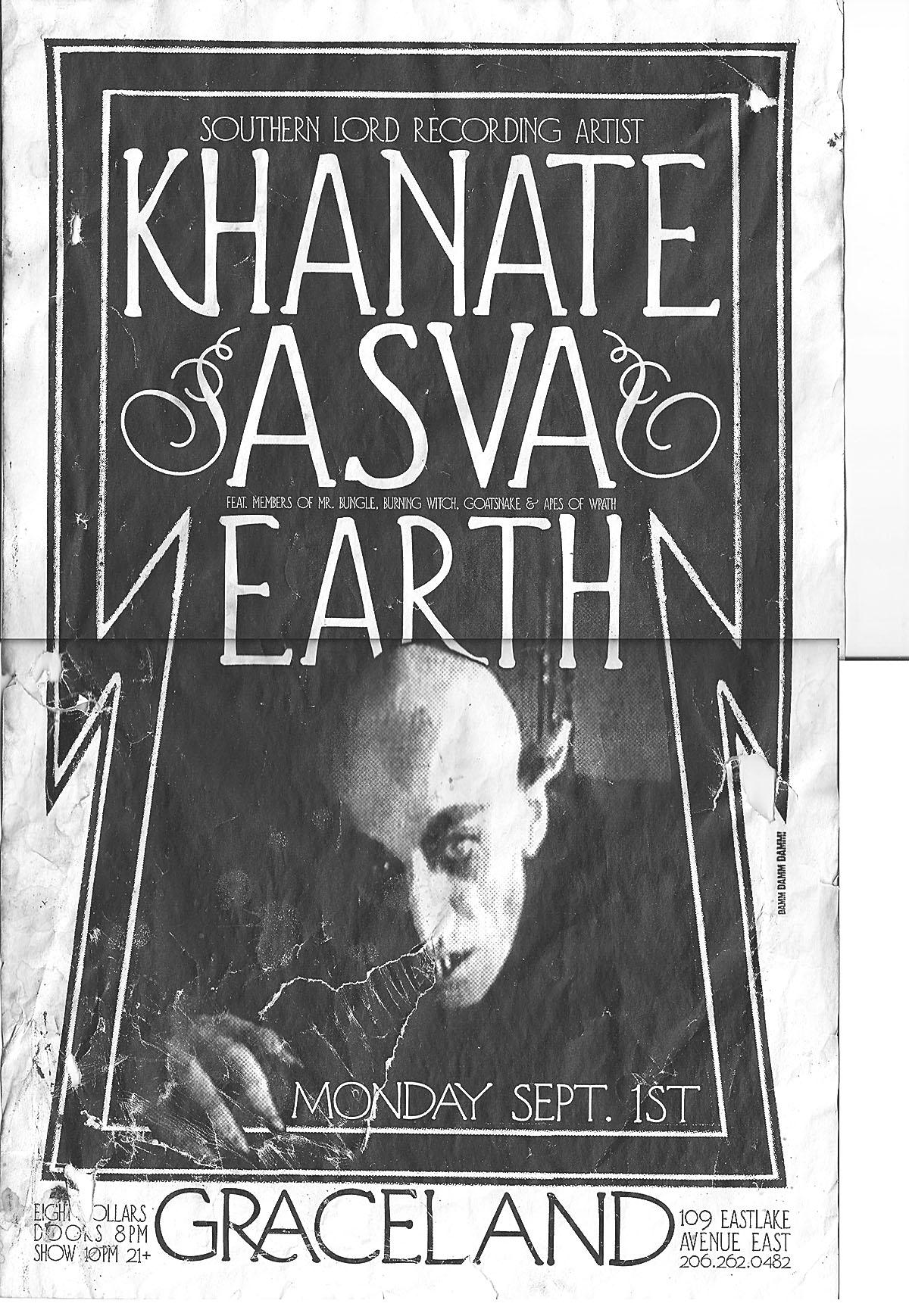 KHANATE + ASVA + EARTH live at Graceland, Seattle 2004 poster