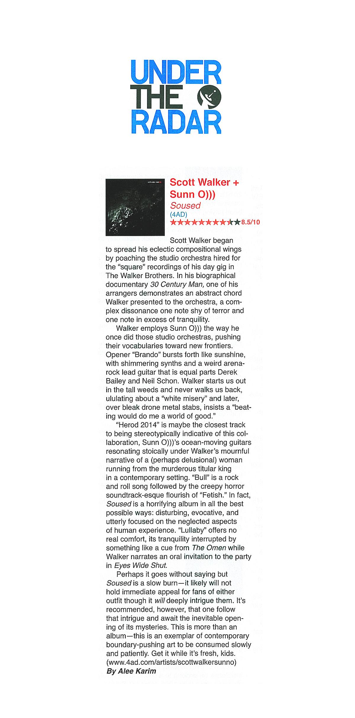 """Scott Walker + SUNN O))) """"Soused"""" review in Under The Radar Magazine"""