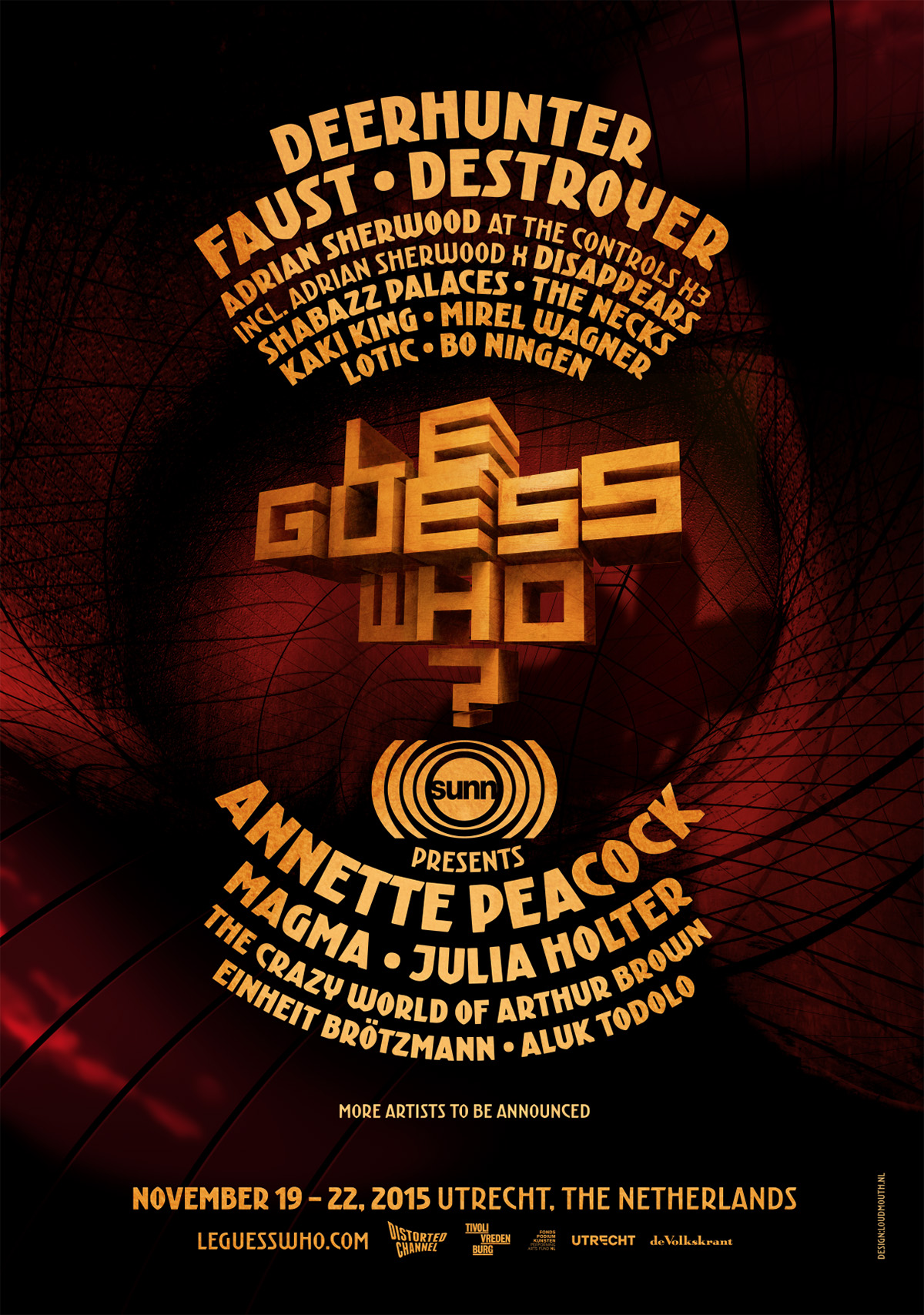 SUNN O))) PRESENTS FOUR-DAY PROGRAM AT LE GUESS WHO? FESTIVAL 2015, INCLUDING ANNETTE PEACOCK AND MAGMA