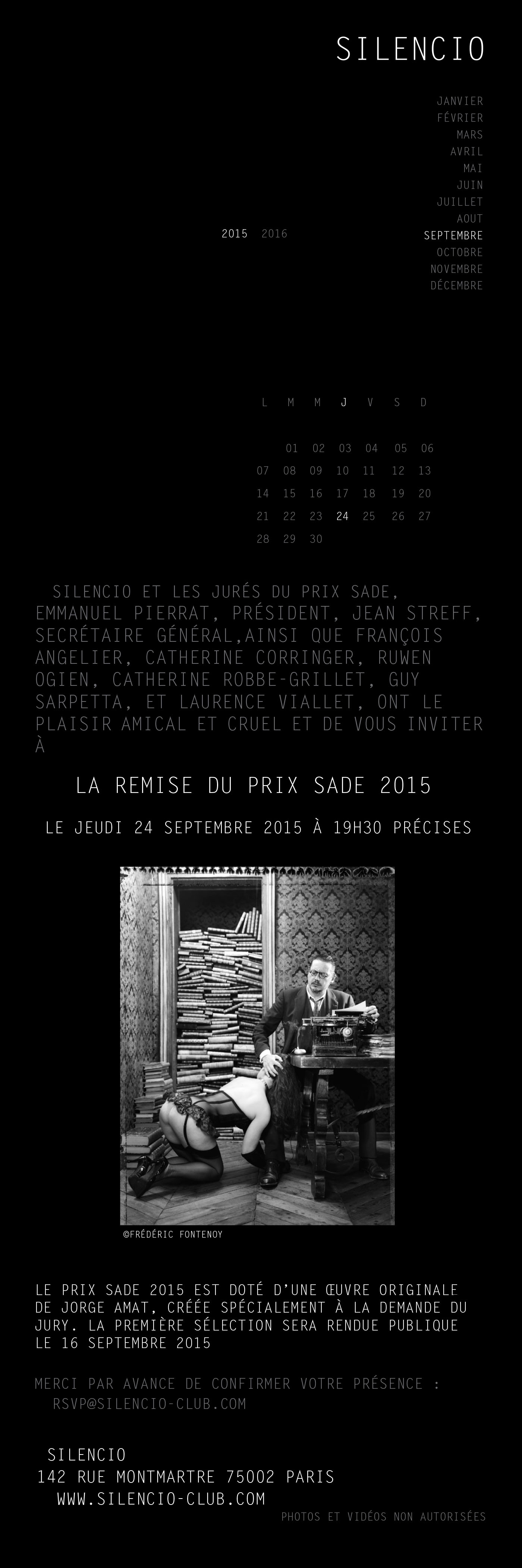 Prix Sade_Silencio: Prix SS 2015