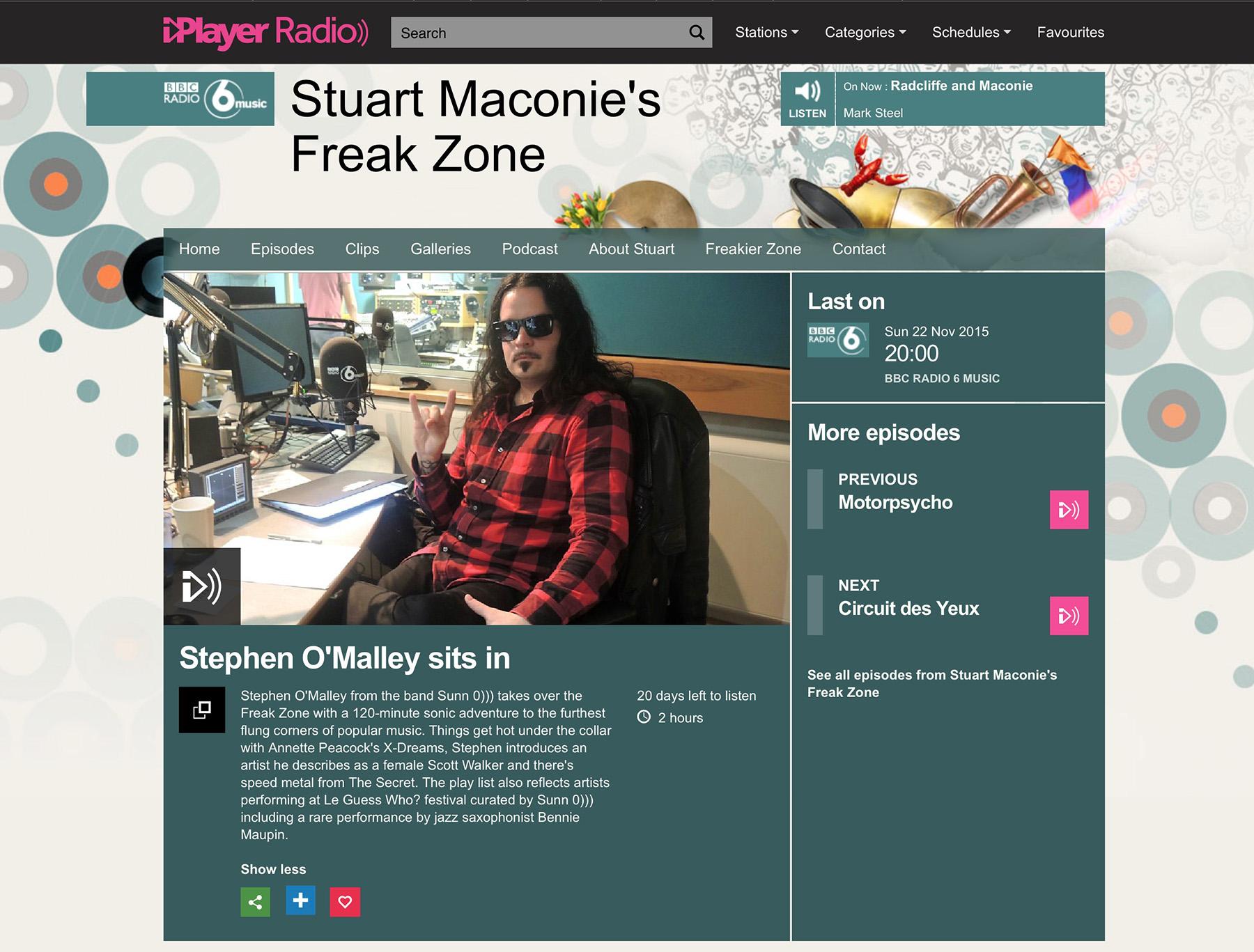 Stephen O'Malley sits in Stuart Maconie's Freak Zone on BBC6 22 Nov 2015