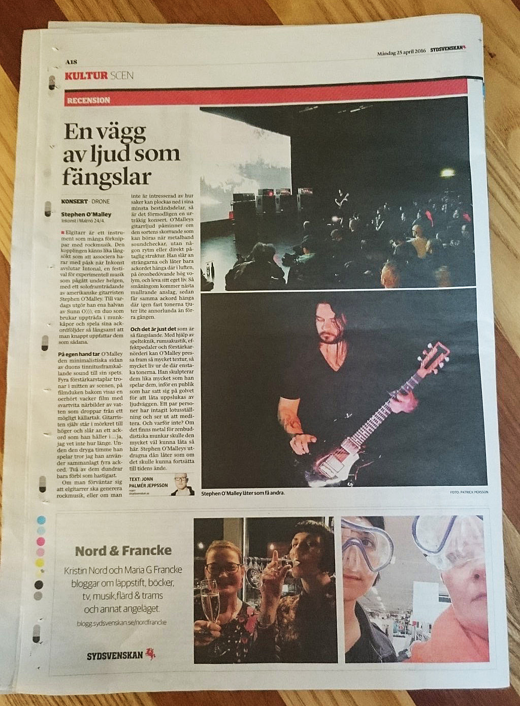 Sydsvenskan's review of my solo concert at Intone, Malmö 24 April 2016